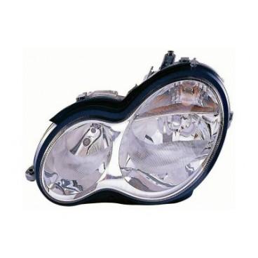 Phare gauche Mercedes W203 Classe C (verre lisse / crystal / marque AL) 2000 - 2007