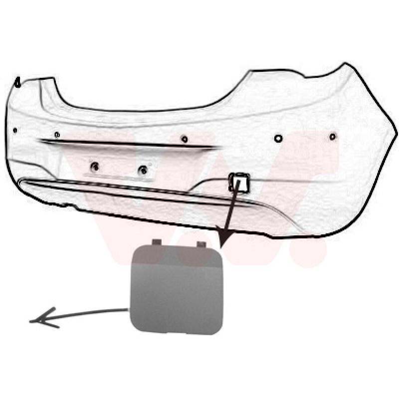 Couvercle pour crochet de remorquage arrière Opel Corsa E 2014+ (pièce de carrosserie à peindre)