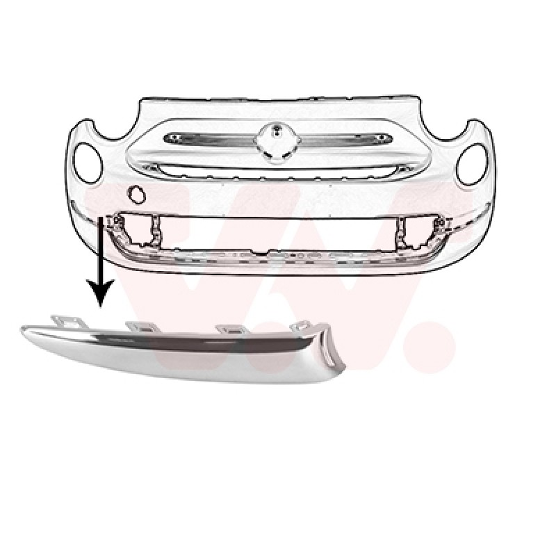 Moulure capot avant FIAT 500 Chrom/é original 50901691