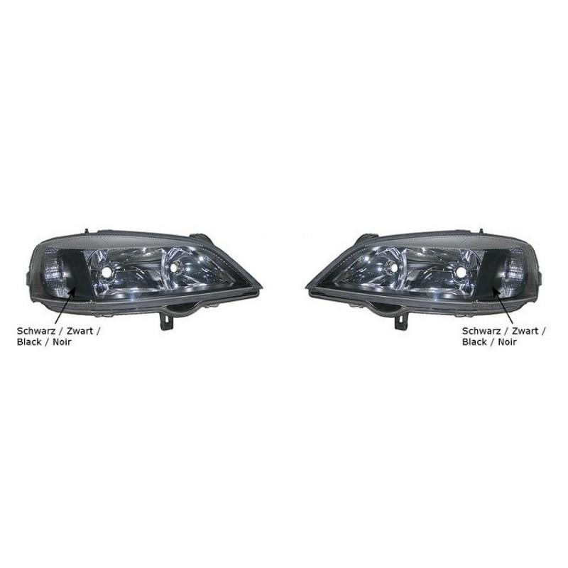 2 optiques de phares Opel Astra G Coupé / Cabriolet 1998-2004 (intérieur couleur noire)