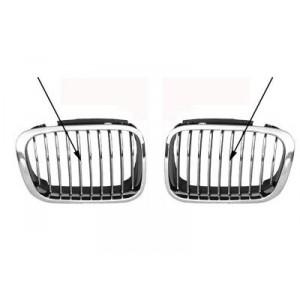 2 grilles chromées pour calandre avant BMW Série 3 E46 berline et break 1998-2001