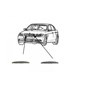 2 Moulures capot (grile de calandre) BMW Série 3 E90 (Chromé)  01/2005 à 10/2008
