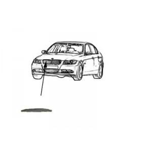 Moulure capot (grile de calandre) droite BMW Série 3 E90 (Chromé)  01/2005 à 10/2008